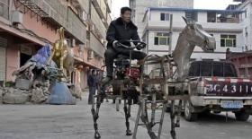 Қытай зейнеткері темірден жылқы жасады (Видео)