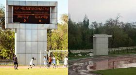«Жетісу» стадионындағы таблоны жел ұшырып кетті (фото)