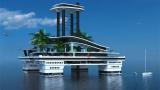 Жасанды аралы бар таңғажайып яхта